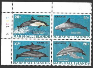 Marshall Isl SC 57a * Dolphins Plate Block* MNH * 1984