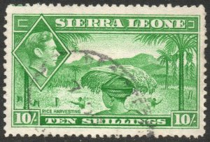 SIERRA LEONE-1938 10/- Emerald-Green Sg 199 FINE USED V42864