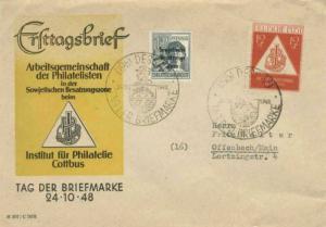 Germany Soviet Zone 12pf+3pf Stamp Day Semi-Postal with 12pf Laborer Overprin...