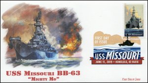 19-141, 2019, USS Missouri, Digital Color Postmark, FDC, 75th Anniversary, BB-63