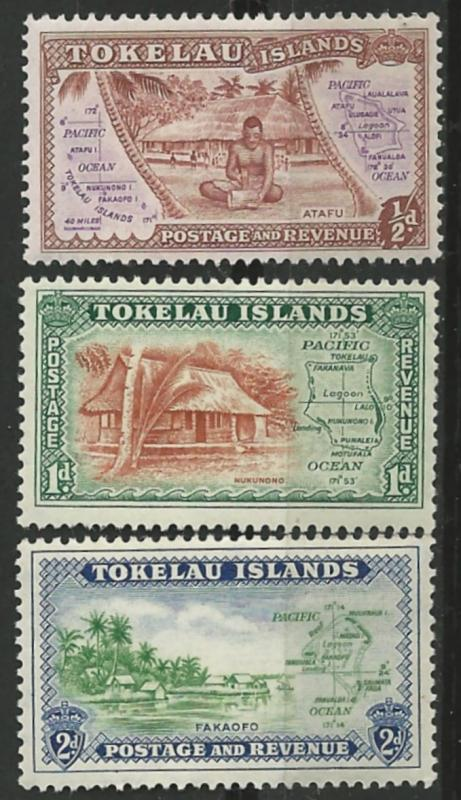 Tokelau Is. # 1-3  First Issue - pictorials    (3)  VF Unused