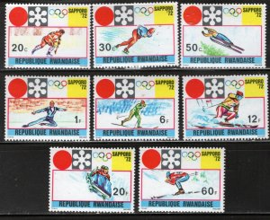 RWANDA  436-443 MNH SAPPORO OLYMPICS SET 1972