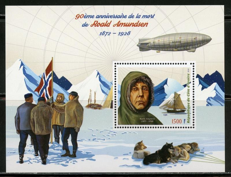 IVORY COAST 2018 90th MEMORIAL ANN OF ROALD AMUNDSEN SET DELUXE S/S MINT  NH