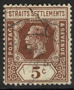 MALAYA STRAITS SETTLEMENTS SG226 1932 5c BROWN DIE II USED