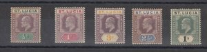 St Lucia KEVII 1904 Short Set To 1/- SG58/62 MLH/MNH J6490