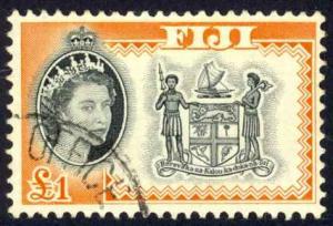 Fiji Sc# 189 Used 1962-1967 £1 QEII Definitives