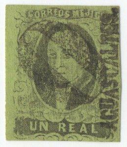 1861 MEXICO, HIDALGO, UN REAL Black on Green, Aguascalientes