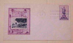 HAWAII  FDC 1938 HONOLULU PARADISE OF THE PACIFIC CACHET UNADDRESSED