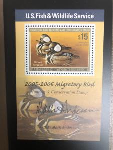 #RW72B 2005 - US Federal Duck Stamp - Mint OG NH *Scarce Mini Sheet Graded 95