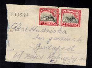 1947 Karaolos Cyprus Judaica Internment Camp 62 Cover to Hungary Mosche Weisand
