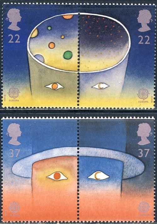 Great Britain 1991 Sc 1374-7 Stars Planets Europa Stamp MNH