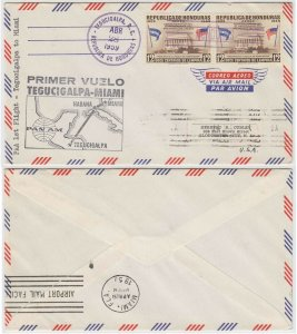 HONDURAS 1959, APR 28 FF COVER TEGUCIGALPA-MIAMI by PANAM TO GLOUCESTER, NJ FVF