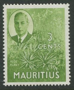 Mauritius - Scott 237 - KGVI Definitive Issue -1950 - MVLH -Single 3c Stamp