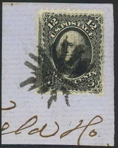 85E, INTENSE BLACK COLOR ON PIECE WITH FANCY CANCEL