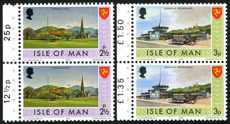 Isle of Man 16a-17a booklet panes of 2, MNH. Tynwald Hill,Douglas Promenade,1973