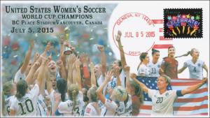 2015, US Women's Soccer, World Cup Champions, Local Postmark, 15-160