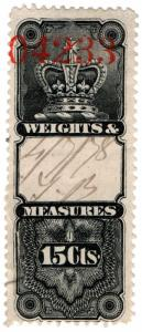 (I.B) Canada Revenue : Weights & Measures 15c (1876)