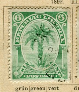 LIBERIA; 1892 early Pictorial issue fine used 6c. value
