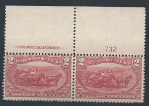 USA 1898 OMAHA 2C PLATE IMPRINT PAIR MNH**