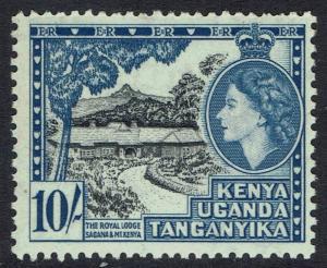KENYA UGANDA & TANGANYIKA 1954 QEII ROYAL LODGE 10/- MNH **
