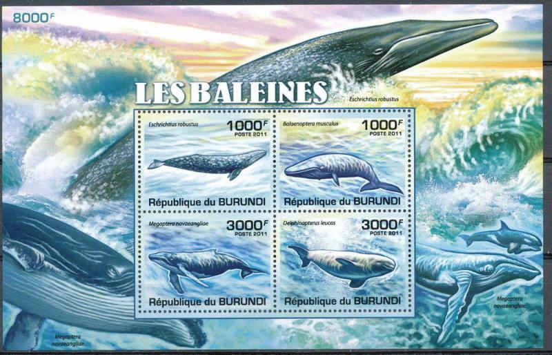 Burundi MNH S/S 861 Whales 2011 SCV 15.00