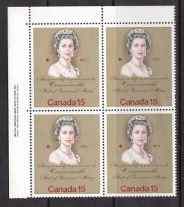 Canada #621 T1 VF/NH Plate #1 Untagged Block  **With Certificate**