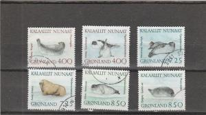 Greenland  Scott#  233-238  Used  (1991 Walrus & Seals)