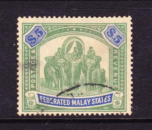 MALAYA FED STATES 1922-34  $5 ELEPHANTS  FU SG 81