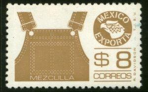 MEXICO Exporta 1123a $8P Overalls Perf 11 Fluor Paper 7 MINT, NH. VF.