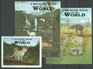 U1242 LIBERIA FAUNA WILD ANIMALS WILDLIFE ATLAS OF THE WORLD !!! 2KB+1BL FIX