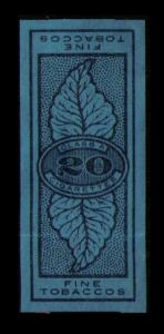 REVENUE TOBACCO STAMP 20 CIGARETTES, CLASS A, FINE TOBACCOS, SEE SCAN