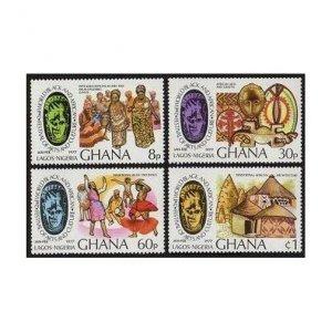 Ghana 611-614,615,MNH.Michel 678-685,Bl.68. World Black,African Festival of Art.