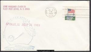 USA 1969 (24 Jul) Space Cover USNS VANGUARD FLEET POST OFFICE N.Y. 09501