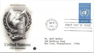 United Nations 50th Anniversary First Day Cover 1995 cachet