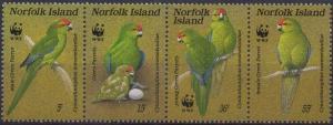 Norfolk Island 1987 SG425-428 Red-fronted Parakeet strip of 4 MNH
