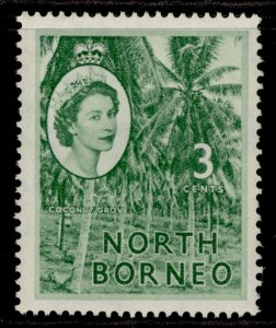 NORTH BORNEO QEII SG374, 3c green, M MINT.