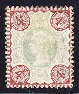 Great Britain 1887 4d Queen Victoria Jubilee  F/VF/Mint(*)