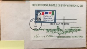 US #1311 SIPEX First Day Cover (FDC) 1966