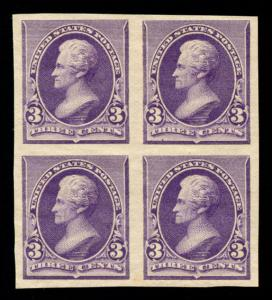 momen: US Stamps #221Pa Mint OG Proof Block of 4 VF
