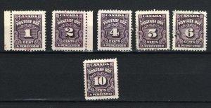 Canada #J15-20   u VF 1935 PD