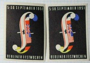 Berlin Festival September 1951 Exposition Poster Stamp Ads