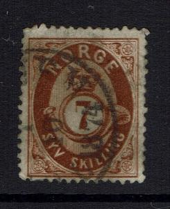 Norway SC# 21, Used, early date cancel, few short perfs - Lot 041617