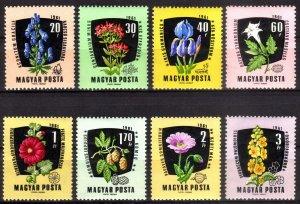 1961, Hungary, Flowers set, MNH, Sc 1418-25