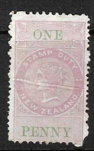 NEW ZEALAND 1867 1d LILAC/GREEN QV FISCAL MNH DIE 2