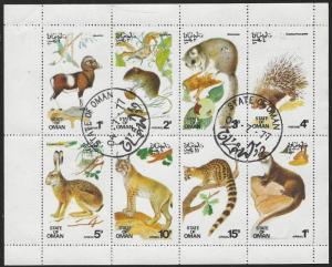 Oman: CTO (Used) Miniature Sheet of 8 Wild Animals