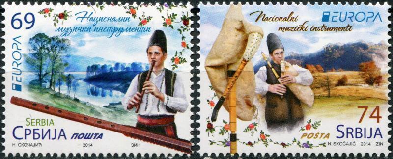 Serbia. 2014. Musical Instruments (MNH OG) Set of 2 stamps