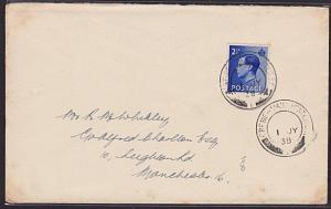 GB 1938 cover CREWE - MANCHESTER S.C. railway sorting carriage cds..........6433