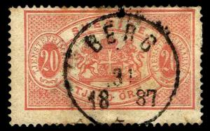 1874-77 Sweden #O7 Official - Used - F/VF - CV$90.00 (ESP#2906)