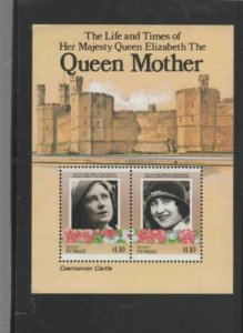 TUVALU-VAITUPU #55 1985 QUEEN MOTHER 85TH BIRTH MINT VF NH O.G S/S aa