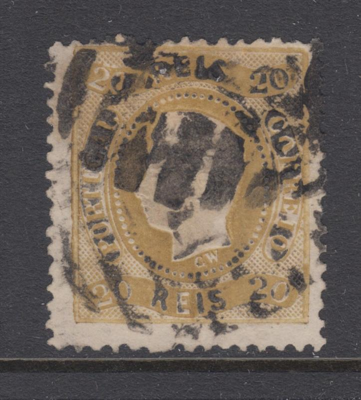 Portugal Sc 27 used 1867 20r bistre King Luiz, Scarce